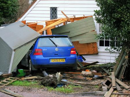 A car crashed into a shed and house in Underdown Lane, Herne Bay.