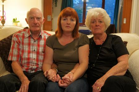 Simone with her parents Leon and Jeanette Vintiner, who flew over from Spain for their son Haydyn Vintiner's funeral