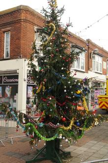 The spruced-up Christmas tree in Mortimer Street, Herne Bay