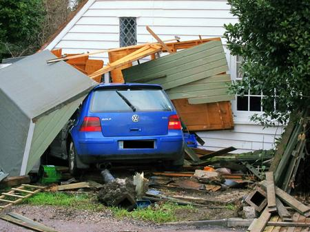 The VW Golf crashed into a house in Herne Bay