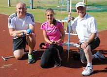 Alex Hoad and Lisa Dobriskey try the throwing events as part of Inspire Kent, coached by Ashford AC's Ted Hawkins