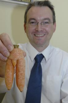 Kennington resident Mark Eastham with his suggestive carrot