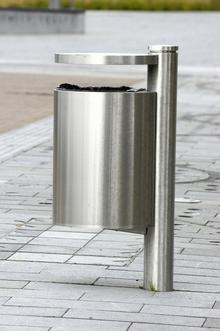 Stainless steel bin in Ashford's shared space