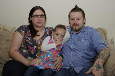 Bea Raggett and partner Daniel Jessop with daughter Jenna, who was crushed at Ashford Christmas lights switch-on