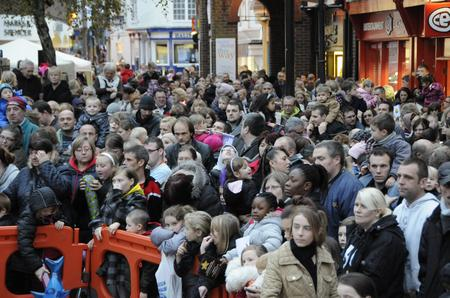 A packed crowd waits for the Ashford Christmas lights ceremony to start
