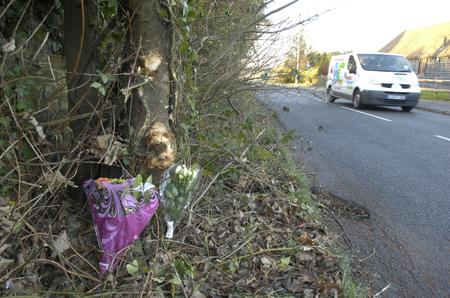Tributes at the site of the quad bike crash in Finn Farm Road, Kingsnorth
