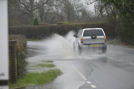 Flooding on the A28 between Ashford and Tenterden this morning