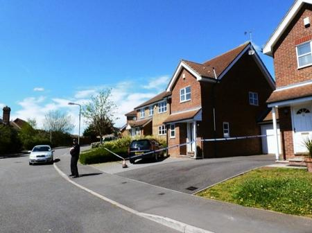 A police cordon was thrown around Natalie and Ivan Esack's house in Rosewood Drive, Ashford