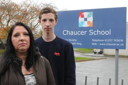 Tyler Badden with his mum Joanne outside Chaucer Technology School