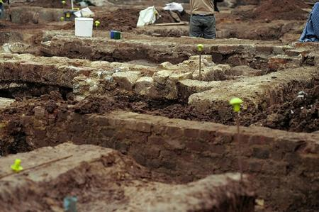 Archaeological dig behind the hoardings in St Dunstan's, Canterbury, on the corner of Station Road West