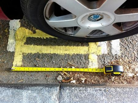 21-inch double yellow line in Station Road, Canterbury