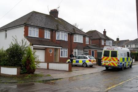 Police at the scene of a drugs bust in Milton Close, Canterbury.