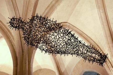 Antony Gormley's sculpture 'transport' in the crypt at Canterbury Cathedral