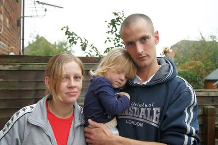 Melissa Stannard, Scarlet, 2 and Aaron Johnson - who was arrested by armed police.
