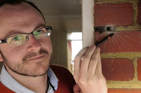 Unusual spider living in the brickwork of a canterbury house.