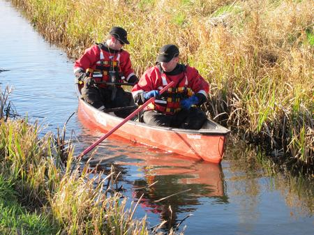 Kent Search and Rescue vounteers have been using canoes to navigate the miles of narrow waterways in the search for missing John Harvey.