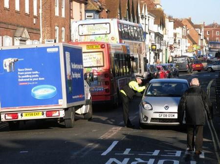 Traffic in Canterbury town centre on the first day of the closure of the Westgate Towers