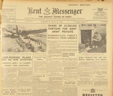 Kent Messenger front, July 1940