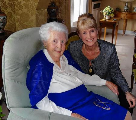 Jan Leeming, right, with Jacqueline Quentin-Mouchotte, the sister of René Mouchotte