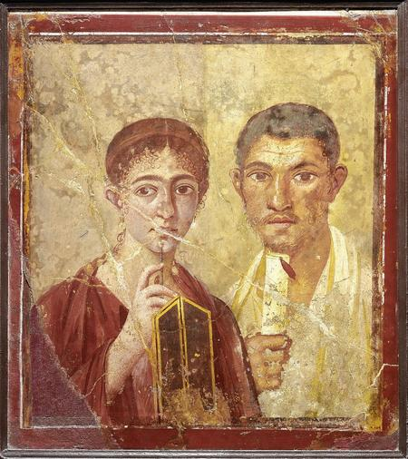 Pompeii: Portrait of baker Terentius Neo and his wife. Pompeii, AD55–79