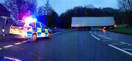 Lorry closes A20 near Folkestone.