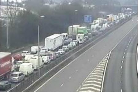 Traffic builds after a crash on the M25