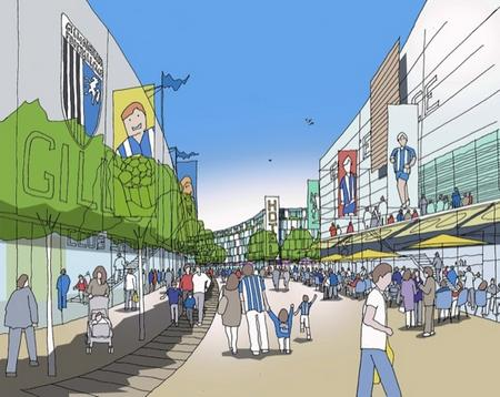 An artist'­s impression for Gillingham'­s proposed new stadium at Mill Hill, off Yokosuka Way in Gillingham.