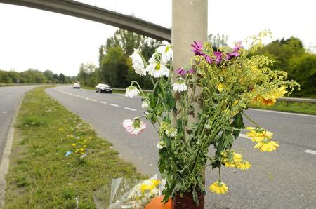 Flowers at the scene of a crash on the A228 in Snodland in which biker Dr Mark Williams was killed