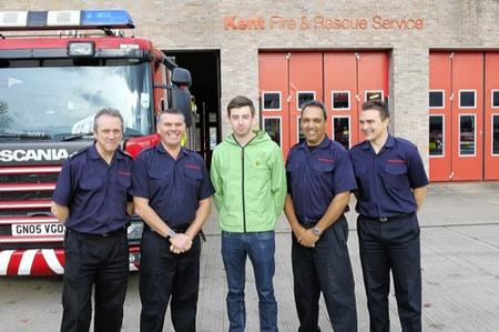 Lewis thanks firefighters who saved his life.
