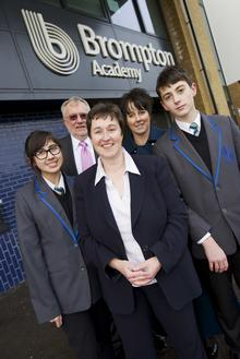 Judy Rider with pupils at Brompton Academy's topping out