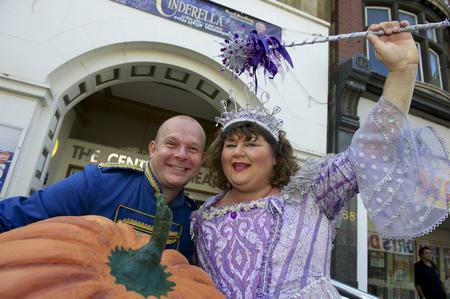 Paul Burling as Buttons and Cheryl Fergison as the Fairy Godmother in Cinderella at The Central Theatre, Chatham