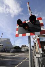 The level crossing in Ingram Road, Gillingham