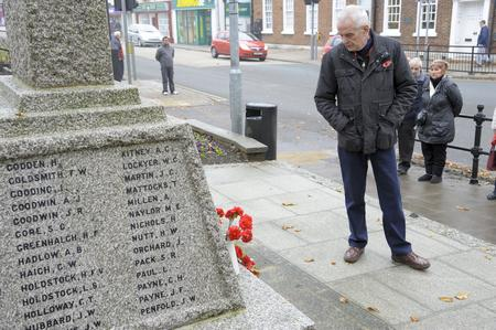 Les Read at the war memorial in Rainham