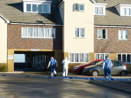 Forensics at the scene in London Road, Teynham