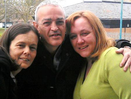 Mark Burden outside court with friends (left) Julie Graham and (right) Deborah Atkinson who were due to be called to give evidence about the benefits of taking cannabis.