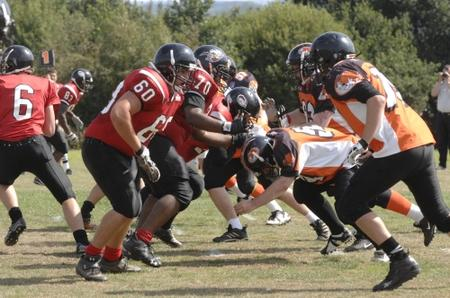 American Football action from the East Kent Mavericks and Maidstone Pumas match at Canterbury University on Sunday.