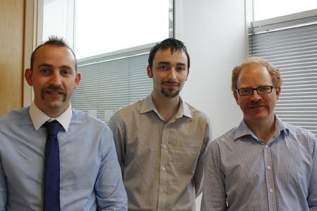 Peter Whatmore, Tom Jeffery and Stephen Eddleston-McGrath from Moat Homes with their Movember efforts