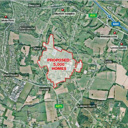 """A map of the proposed """"garden suburb"""" in south east Maidstone"""
