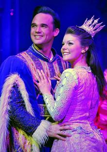 Gareth Gates gets to grips with Faye Brooks in Sleeping Beauty at the Marlowe