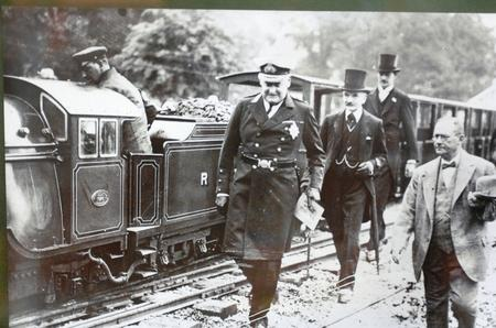 First pictures of the train, with dignitaries led by Lord Warden of Cinque Ports Earl Beauchamp at the inaugral ceremony on July 16, 1927
