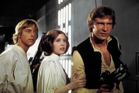 Mark Hamill as Luke Skywalker, Carrie Fisher as Princess Leia and Harrison Ford as Han Solo in Star Wars