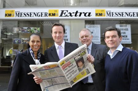 .David Cameron visits the Kent Messenger offices in Maidstone.