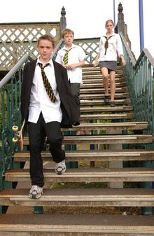 Truancy. Stock pictures posed by models