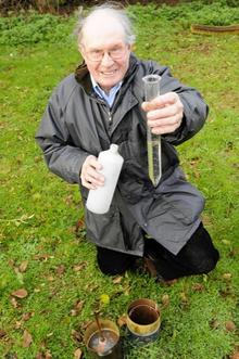 Ken Beal measures rainfall every day from his home in Eastchurch