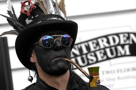 A morris dancer at the Tenterden Folk Festival