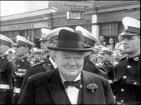 A happy Winston Churchill during his visit to Deal