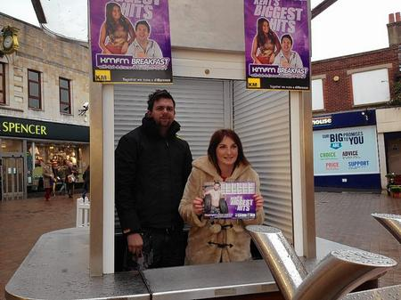 Rob and Emma sell Rob's charity calendar in Maidstone