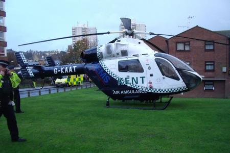 An air ambulance in Brunswick Court after a man was seriously injured. Picture: Mike Pett