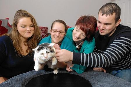 Lisamarie Curtis, Karen Woolton, Bex and Simon York, of Cat Care Rescue, and and Norman who needs re-homing.