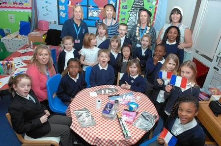 Staff and children from the Westlands After School Club enjoying the French day held at Westlands Nursery School